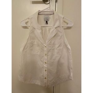 White Collared Sleeveless Top - Size 6